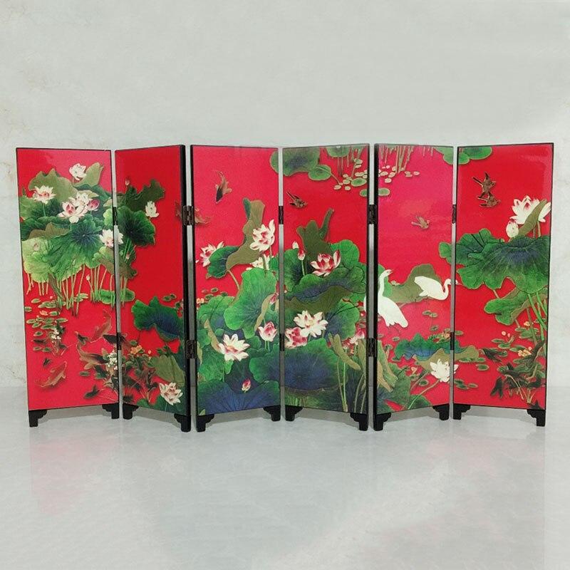 Mini divisor de habitación pantalla plegable 6 paneles impresos lienzo mesa de madera arte chino decoración del hogar regalo decoración de la boda 1 Panel de gasa bufanda Panel de cortinas transparente Premium tratamiento de ventana cortina sólida decoración del hogar cenefa blanca para sala de estar