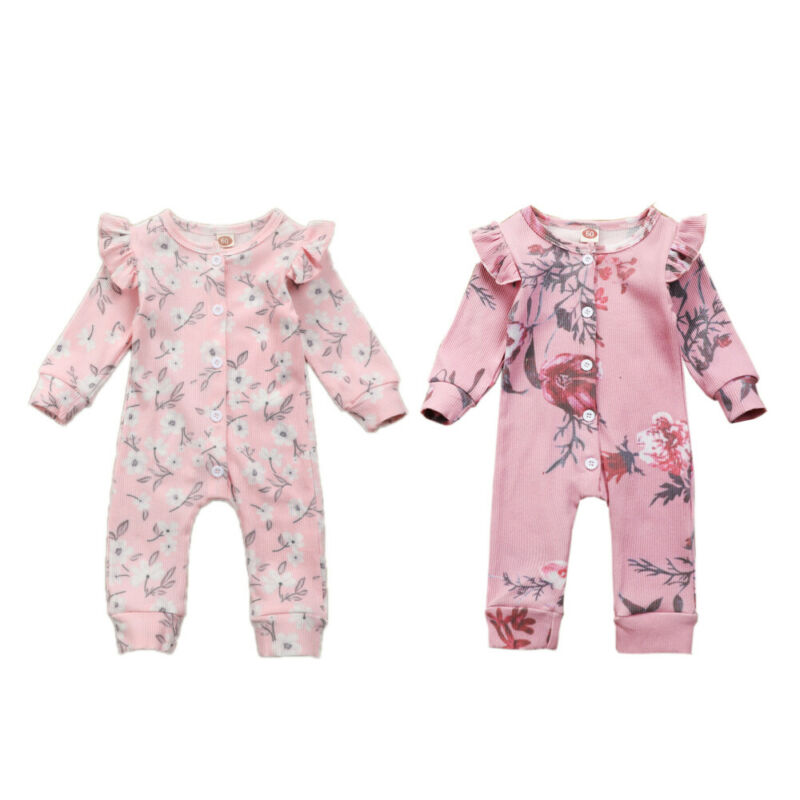 Winter Newborn Baby Girl Rompers Floral Clothes Striped Romper Knitted Button Girls Jumpsuit Outfits Cotton One Piece Romper