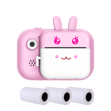 Gift LCD Display Cute Cartoon Photography Portable Kids Camera Mini Video Front Rear 1080P HD Photo Printer USB Rechargeable