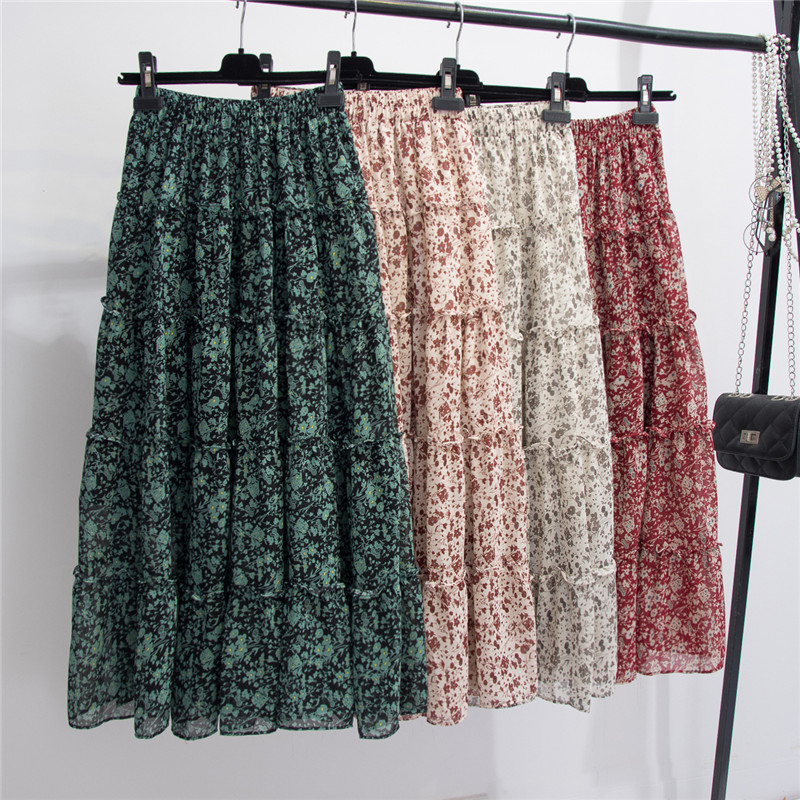 Spring 2020 Korean Floral Maxi Long Boho Chiffon Skirts Spliced Patchwork A-line Flower Print Ankle Long Summer Chiffon Skirts