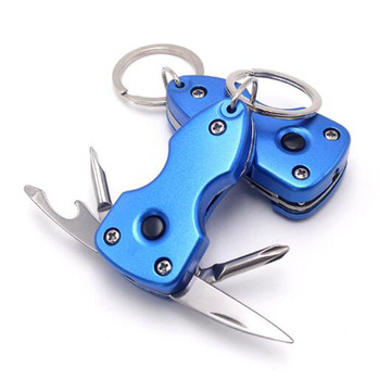 Five in one Outdoor multifunctional portable folding screwdriver creative gift key chain with LED light EDC tool precision cast steel multifonction key chain with cross straight screwdriver edc portable screwdriver set tool