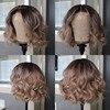 Kurze Bob Wellenförmige HD Transparent 13X6 Spitze Vorne Perücke Preplucked 613 Honig Blonde Farbige ombre Menschliches Haar Perücken Blunt Cut brasilianische