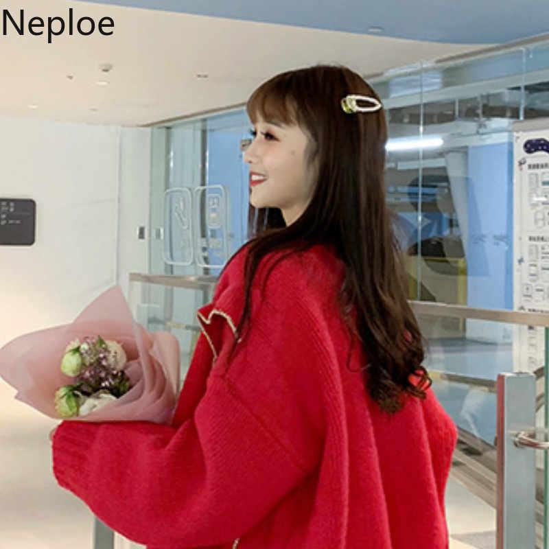 Neploe корейские новости Элегантный Золотой Шелковый вязаный кардиган с ушками и v-образным вырезом Свободный дикий Кнопка открытый стежок одноцветное сказочное плотное пальто осень 45692