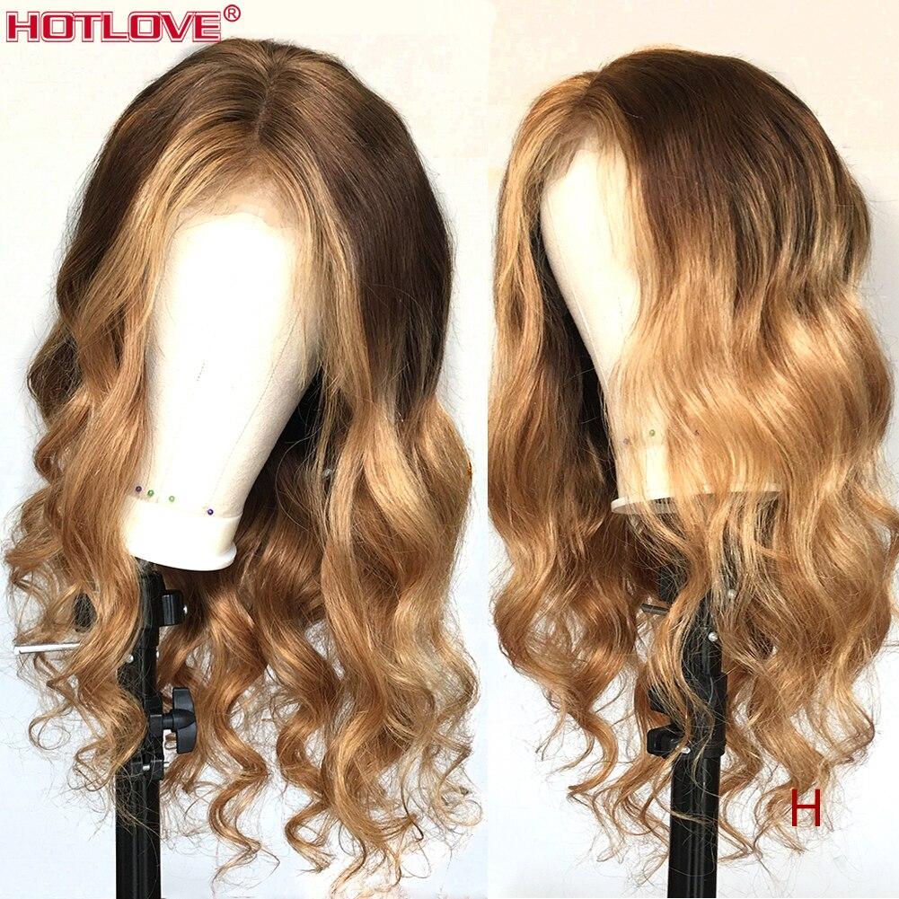 Perruques de cheveux humains avant de lacet de vague de corps Ombre 4/27 points forts blonds 13x4 perruques avant de lacet 150% densité pré-plumés bébé Remy cheveux