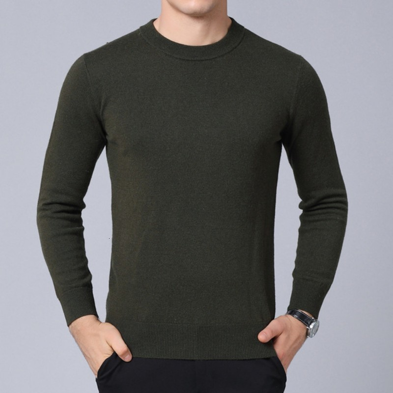 Men O-Neck 100% Wool Sweater Warm Knitted Casual Long Sleeve Pullovers Tops High Quality Fashion Solid Slim Sweater Knitwear New