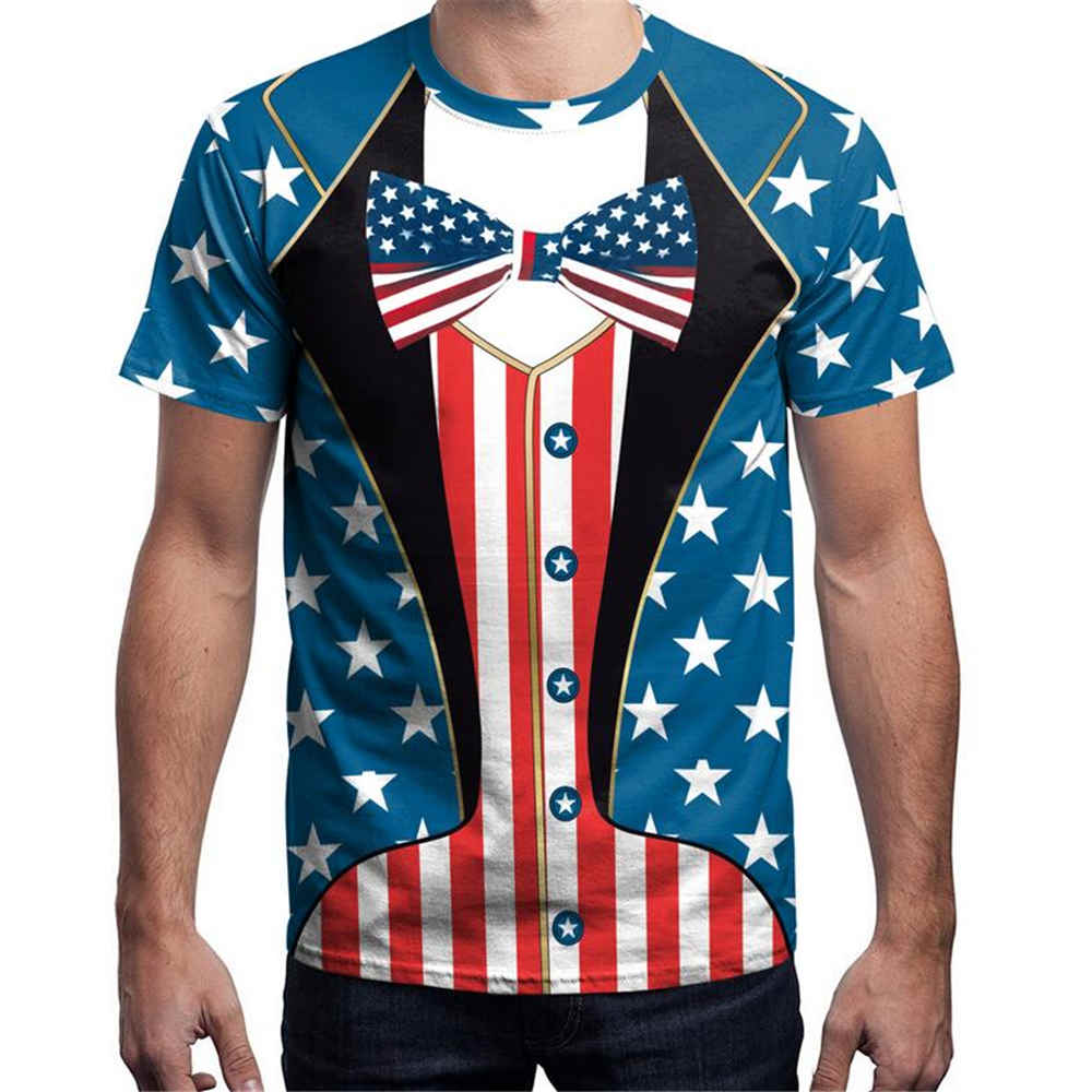 Clothing T-Shirt Men Short-Sleeve National-Flag-Printing Loose Comfortable Soft School title=