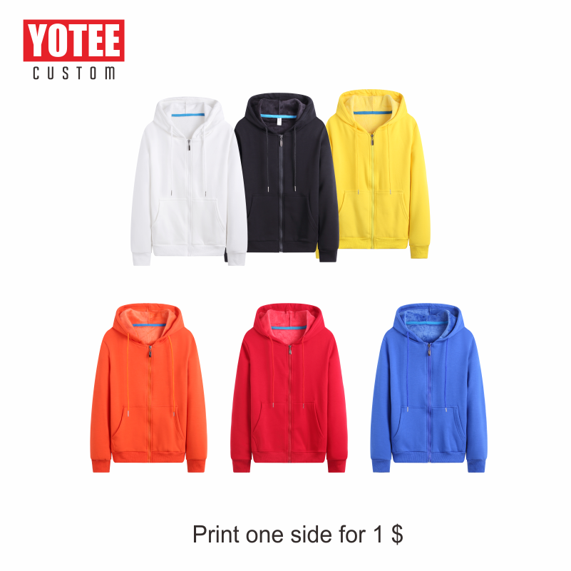 YOTEE Zipper Hoodies Sweatshirts Autumn Winter Plus Size Long Sleeve Pocket Pullover Hoodie Female Male Casual Warm Sweatshirts