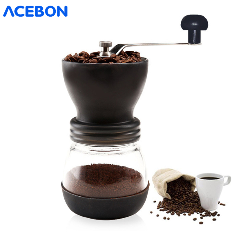 Hot Ceramic Millstone Manual Coffee Grinder For Home Office With 2 Glass Sealed Pots Portable Coffee Mill Tool Easy Cleaning