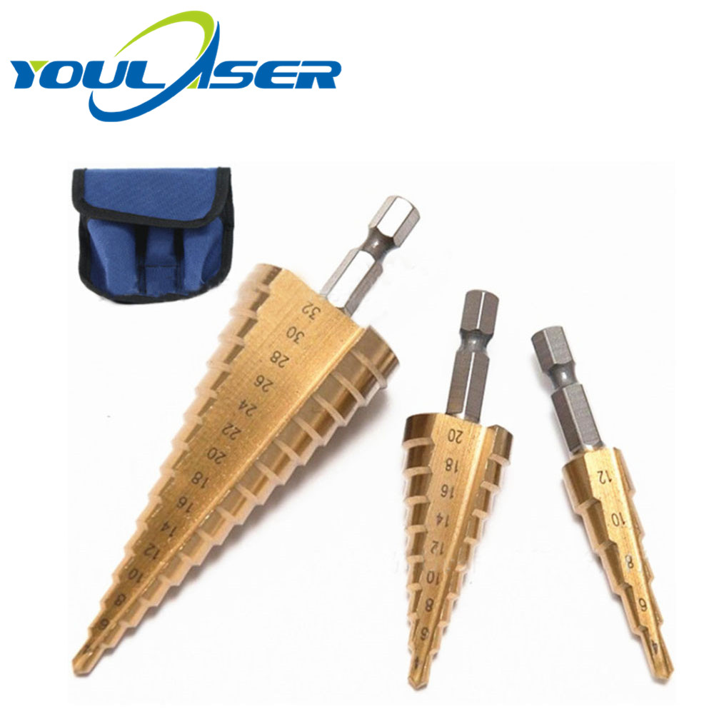 3Pcs Metric Spiral Flute Step HSS Steel 4241 Cone Titanium Coated Drill Bits Tool Set Hole Cutter 4-12/ 20/ 32mm