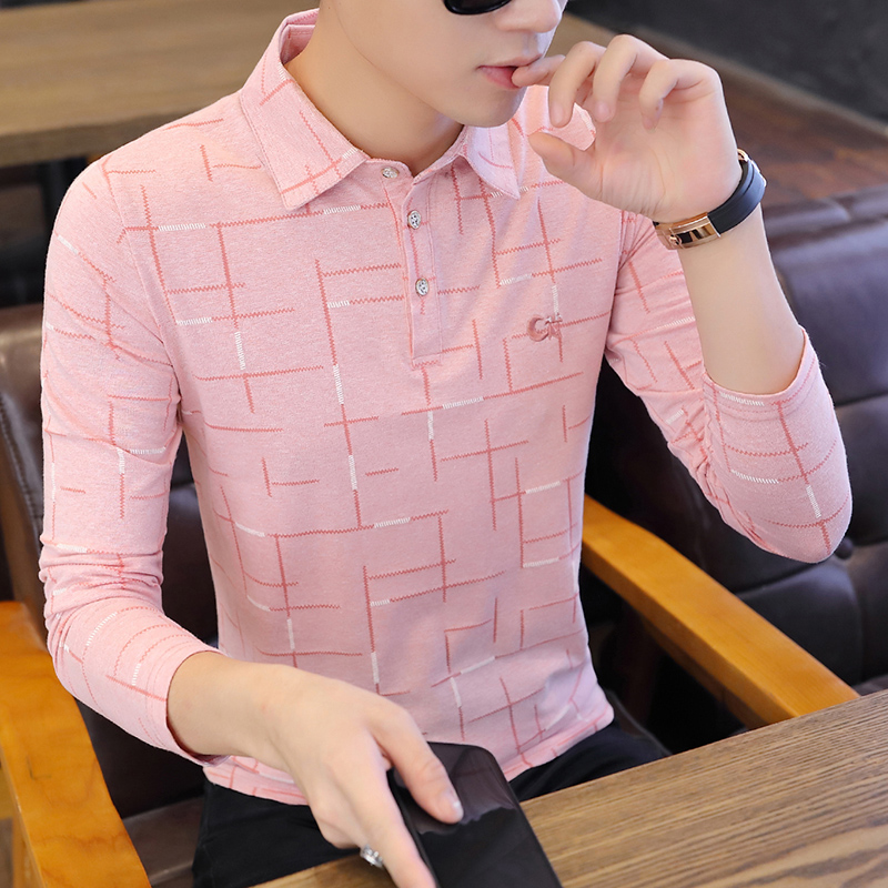 Spring Summer 2020 Polo Shirt Men New Long-sleeved Youth POLO Shirt Pure Cotton Top Shirt Slim Casual Shirt Turn-down Collar