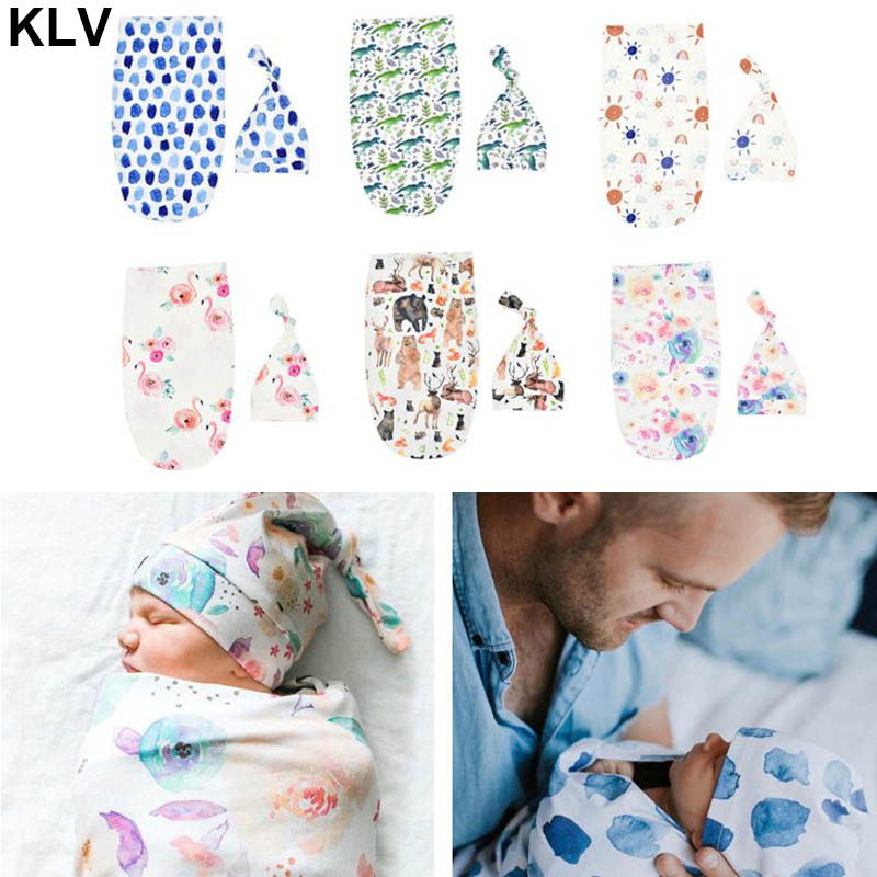 Newborn Photography Prop Baby Blankets Printed Newborn Infant Baby Boys Girls Sleeping Swaddle Muslin Wrap +Hat For 0-3 Month