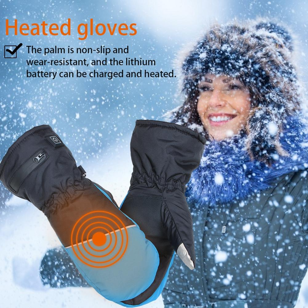 Gants chauffants d'hiver imperméables coupe-vent électriques rechargeables isolés écran tactile gants de chauffage de Ski pour les femmes hommes