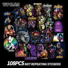 108Pcs Marvel Waterproof Sticker Thanos Doodle Super Hero Notebook Skateboard Trolley Case Cartoon