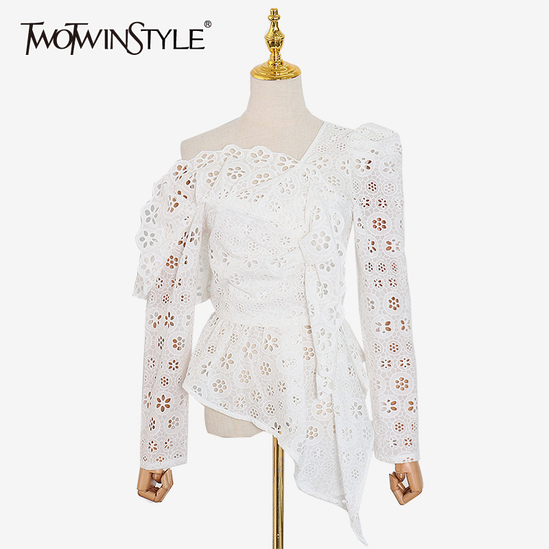 TWOTWINSTYLE Sexy Asymmetrical Womens Shirt Skew Collar Off Shoulder Long Sleeve Hollow Out Lace Blouse Female Fashion 2020 Tide