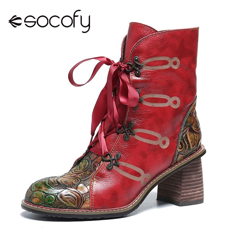 SOCOFY Retro Leather Printed Boots Rose Zipper Ribbon Lace Up High Heel Ankle Boots Ladies Shoes Elegant Shoes Women 2020