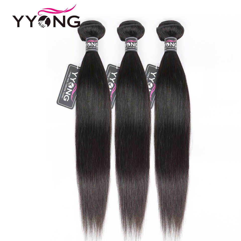 "YYONG Hair Brazilian Straight Bundles 100% Human Hair Remy Hair Weave 3/ 4 Bundles Deal Natural Color 8""-30"" Hair Extensions"