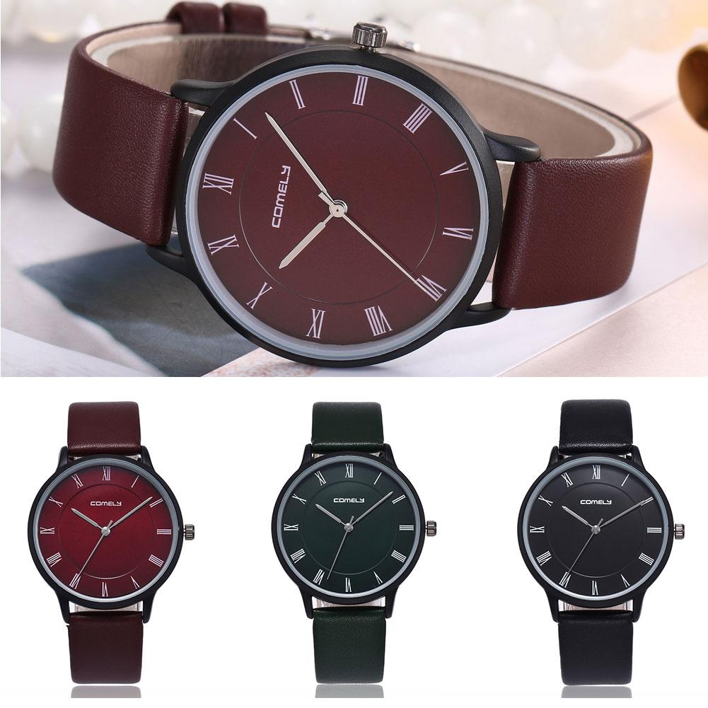Roman Numerals Fashion Montre Homme Men Genuine Leather Band Quartz Big Dial Wrist Watch Reloj Orologio Uomo Fashion Sport Stain
