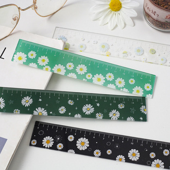 15cm Fresh Style Daisy Flowers Ins Acrylic Straight Ruler Korean Measure Rulers For Students Scrapbooking Diy Supplies