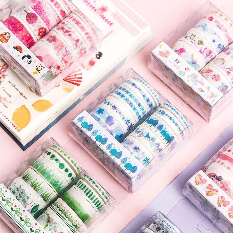 10 Rolls Masking Washi Tape Set Pink Series Floral Sakura Unicorn Masking Tapes Decoration Label Sticker For Scrapbooking Diary