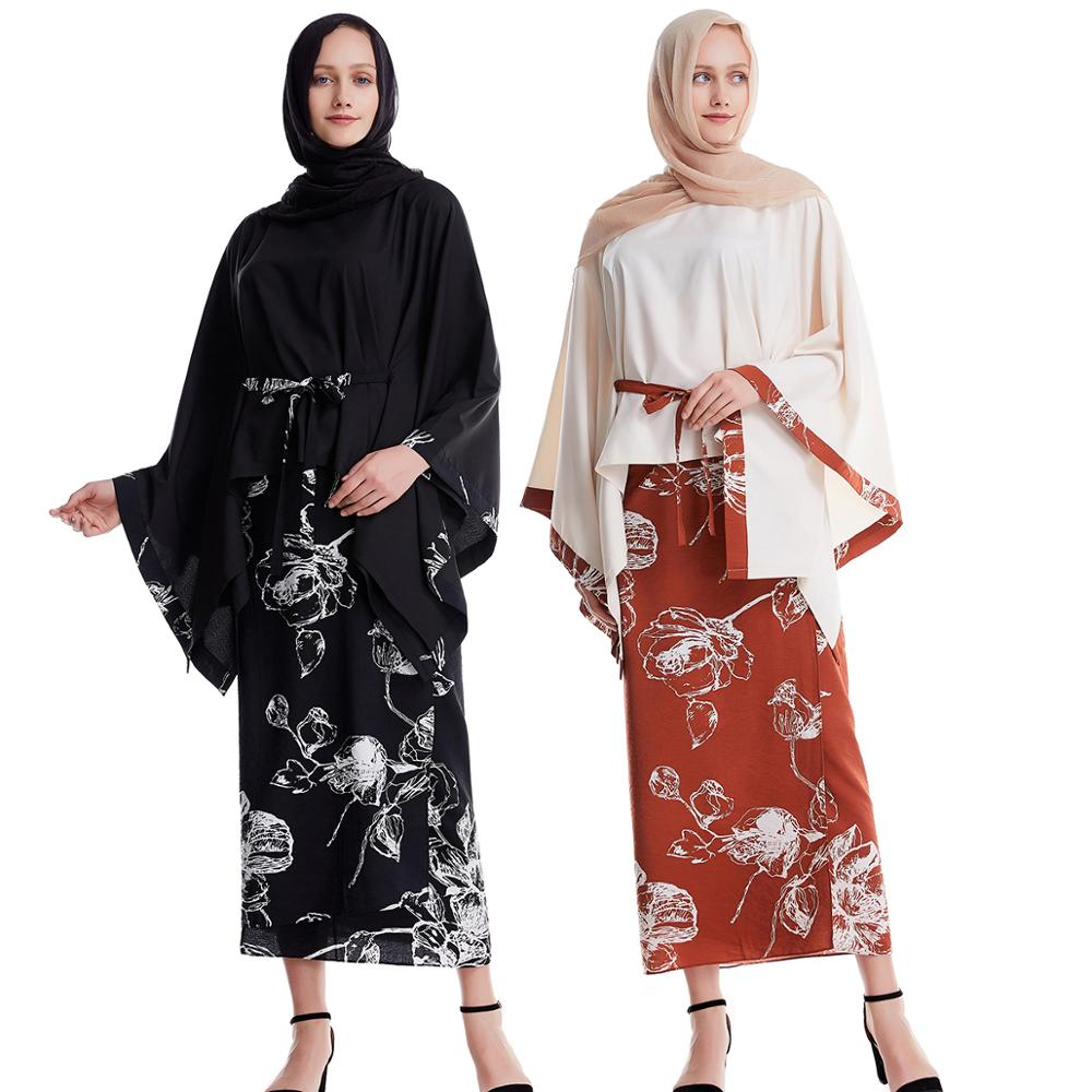 New arrive Fashion female muslims set clothes Womens batwing sleeve shirts+skirts arab malay dubai islamic clothing 2pcs Cotton