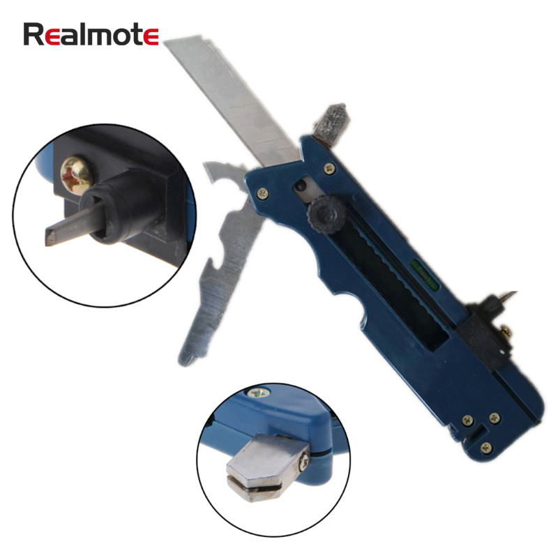 Realmote Professiona Tile Plastic Bottle Glass Cutter Six Wheel Metal Cutting Kit Tool Multifunction Cutter Push Knife