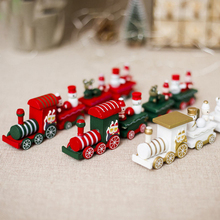 Original Mini Christmas Toys Train Wood Decorations Children Gifts Happy New Year Decor
