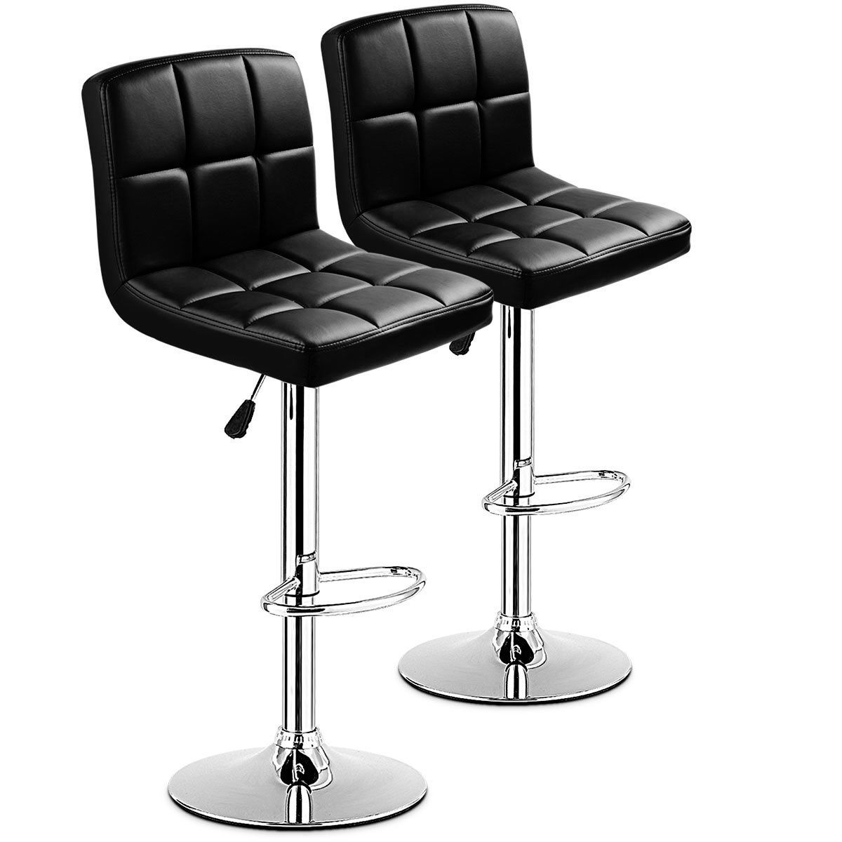 Set Of 2 Bar Stools PU Leather Adjustable Barstool Swivel Pub Chairs Black