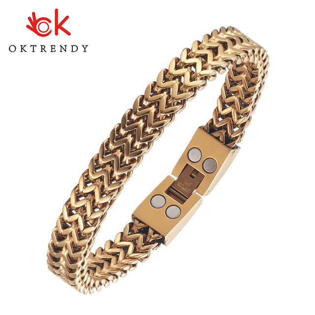 Oktrendy Twist Punk Bracelets For Men Magnetic Stainless Steel Bangle Casual Unisex Pulseira Business Jewelry