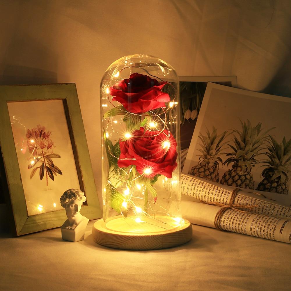 Rose Light Bottle In Jar Desk Night Light Beauty And The Beast  Romantic Gift Bedside Wooden Desk Lamp Romantic Alentine's Day G
