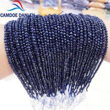 Alta qualidade natural pedra corte pequeno facetado azul areia redonda contas 2mm 3mm para fazer jóias diy colar pulseira brinco