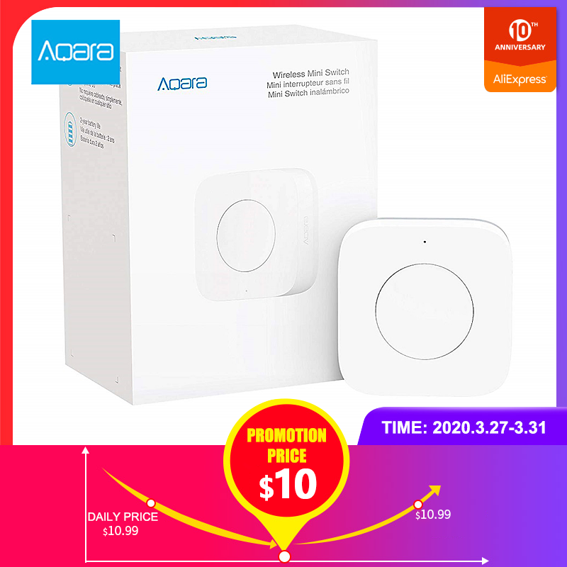 Aqara Wireless Mini Switch Zigbee Connection Versatile 3-way Control Button For Smart Home Devices Compatible With Apple HomeKit