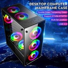350x290x410mm pulpit przezroczyste szkło komputer do gier obudowa PC Gamer chłodzenie dla ATX/ m-atx/mini-płyta główna itx wsparcie 8 fanów