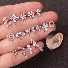 Sellsets 1 ชิ้น 20g ใหม่แฟชั่น Barbell Heart Leaf ดอกไม้ CZ Daith Tragus Helix Cartilage Stud Rook (China)