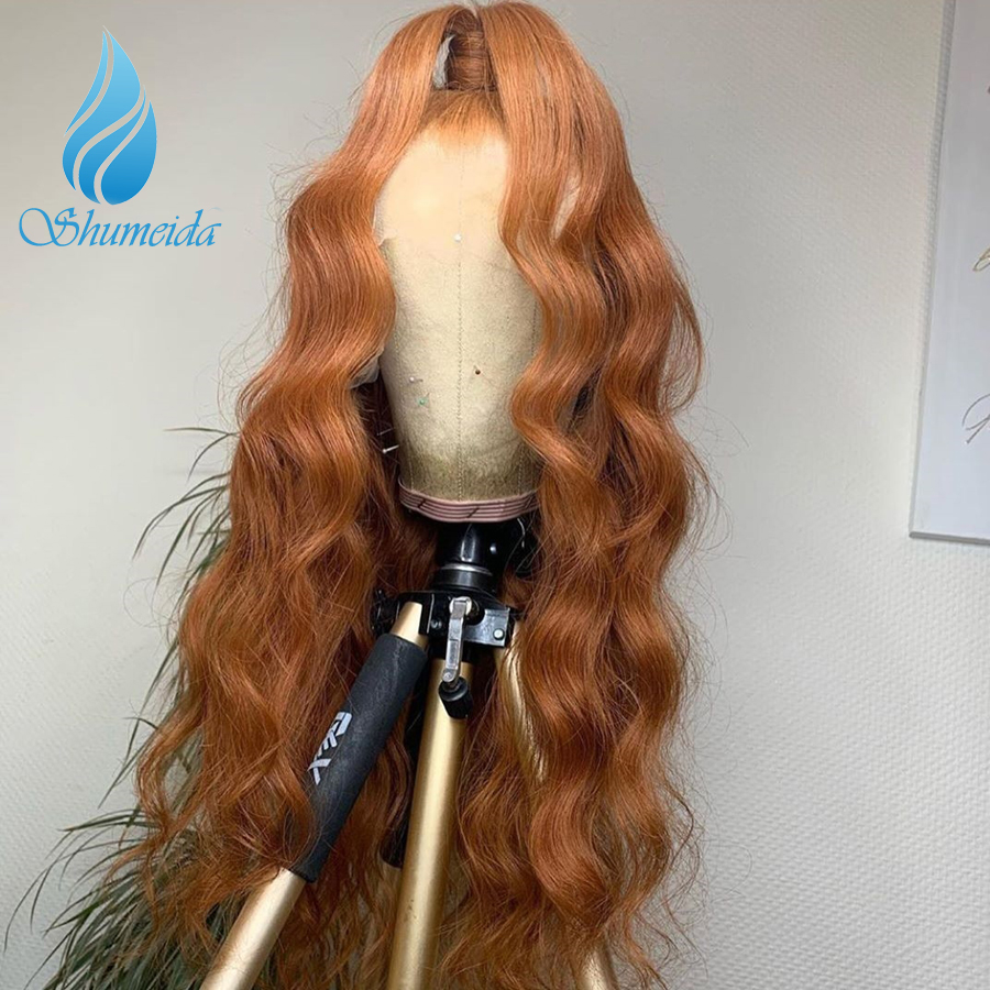 SMD 13*4 Lace Front Wigs With Baby Hair 180% Density Body Wave Orange Color Lace Front Wig  Brazilian Remy Human Hair Wigs