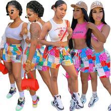 CM.YAYA Women Banadanna Print Shorts Fashion Classic Short Pants