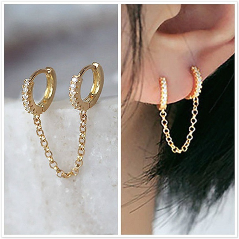 Modyle One PCS Hot Sale Two Hole Piercing Earrings for Women Brilliant Crystal Zircon 3 Metal Color Chain Earring Party Jewelry