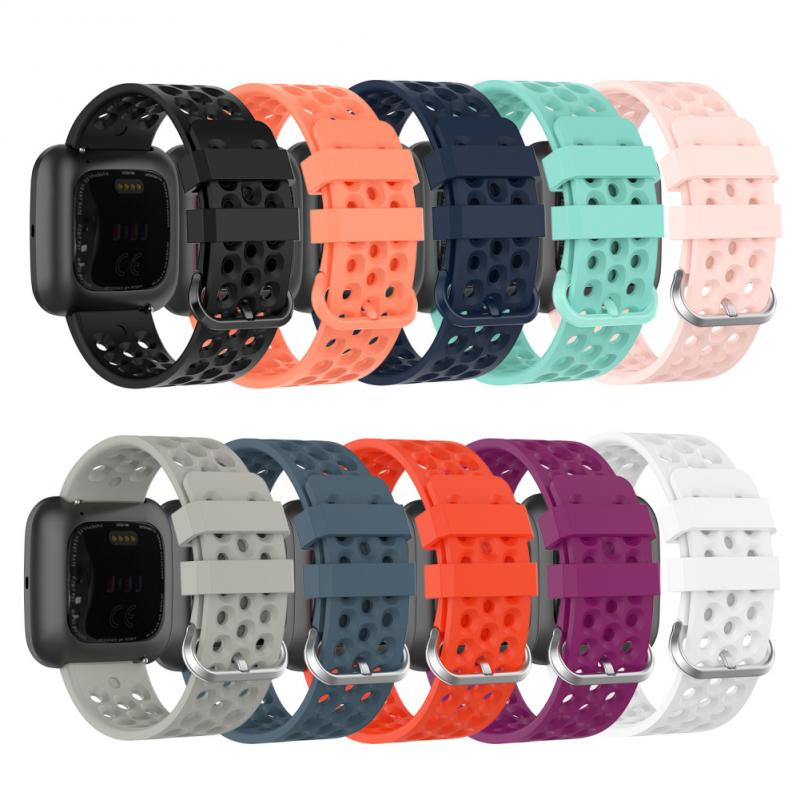 Fashion Mesh Belt For Fitbit Versa1/2 Compatible With Versa Lite Watch Band TPE Rubber Strap With Metal Buckle