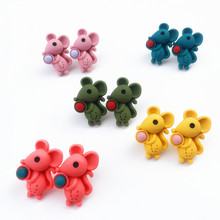 2020new Fashion Cute Cartoon Mouse Stud Earrings for Women Resin Korean Small Animal