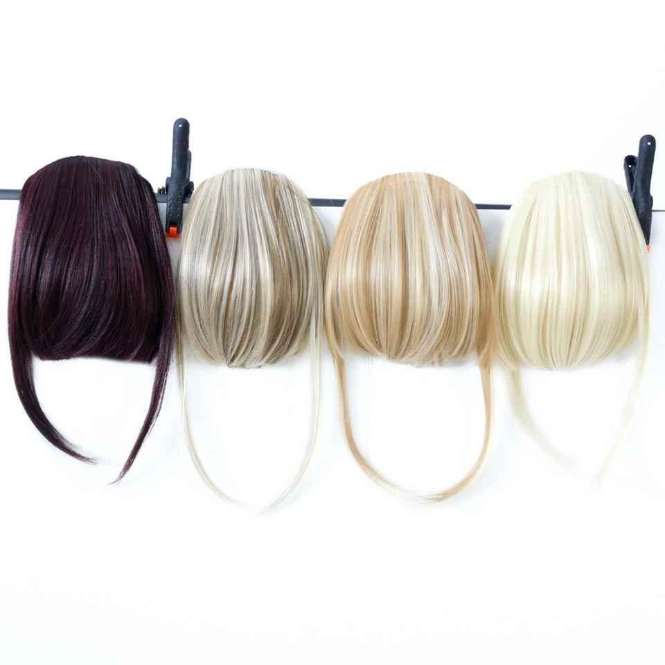 Manwei fibra sintética peruca de cabelo preto marrom um pedaço clipe em franja cabelo extensões de cabelo com alta temperatura