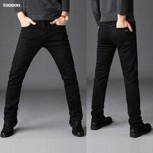 Черные повседневные зимние мужские джинсы, сильная джинсовая эластичная ткань, облегающий светильник, мужские брюки, низкая цена, горячая распродажа, мужские Модные джинсы