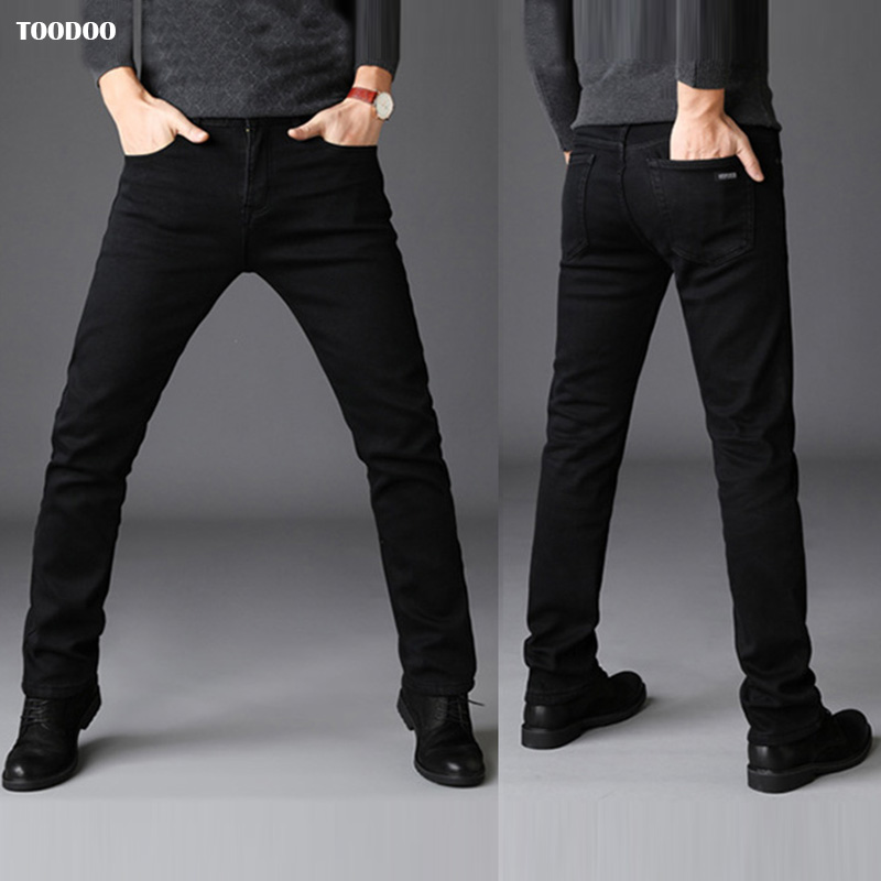 Black Casual Winter Men Jeans Strong Denim Strech Fabric Slim Cut Light Washed Man Pants Low Price Hot Sale Male Fashion Jeans