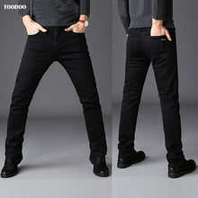 Black Casual Winter Men Jeans Strong Denim Strech Fabric Slim Cut Light Washed Man Pants Low Price Hot Sale Male Fashion Jeans(China)
