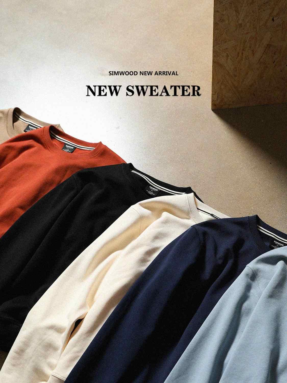 Simwood 2020 Musim Semi Baru Pria Hoodie Santai Minimalis Sweatshirt O-leher Logo Bordir Ukuran Dasar Pullover SI980547