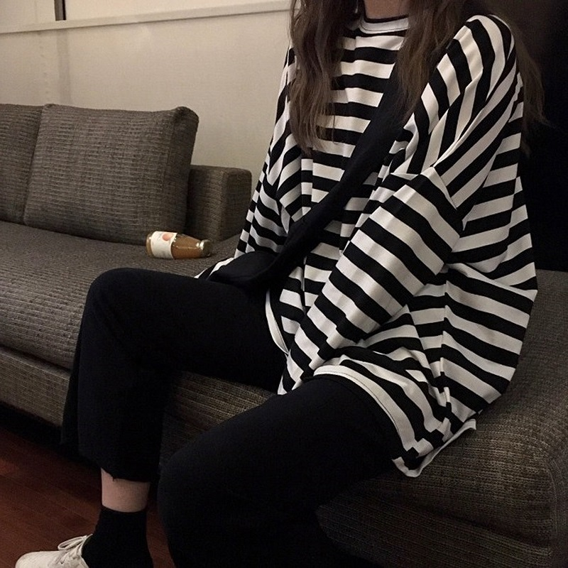 spring Autumn Women harajuku Striped Tshirt Long Sleeve O-Neck T-Shirts ulzzang Korean Casual oversized T Shirt Femme black Tops 1