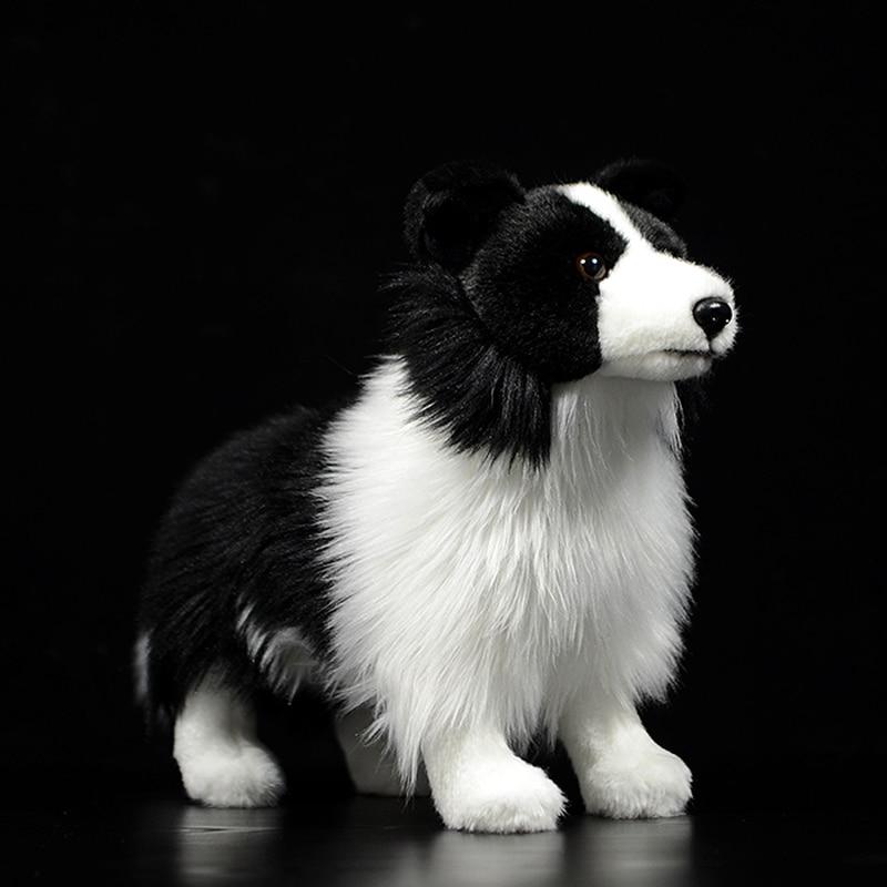 Hot Original Border Collie Dog Mini Dog Kids Stuffed Plush Toys Black Cute Lovely Child Gift Lifelike Animal Doll Poodles Model