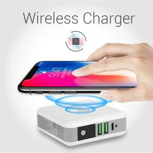 Image 1 - Multi funktion Drahtlose Ladegerät EU UNS UK AU Reise Stecker QI Wireless Charging Power Bank mit Digital Screen für IPhone 8 X Xs/r