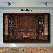 Neoback Christmas Backdrop Retro Vintage Bookcase Fireplace Photography Backdrops Newborn Baby Kids Backgrounds for Photo Studio