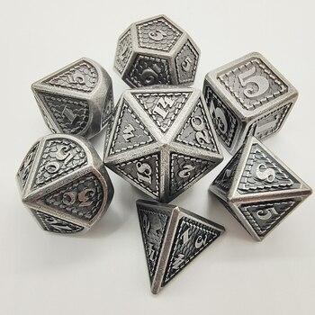 Juego de dados de Metal 7 unids/set D & D dados poliédricos RPG juegos de mesa cubos de aleación de cobre rojo Dyses dado de latón juegos D4 D6 D8 D10 D12 D20