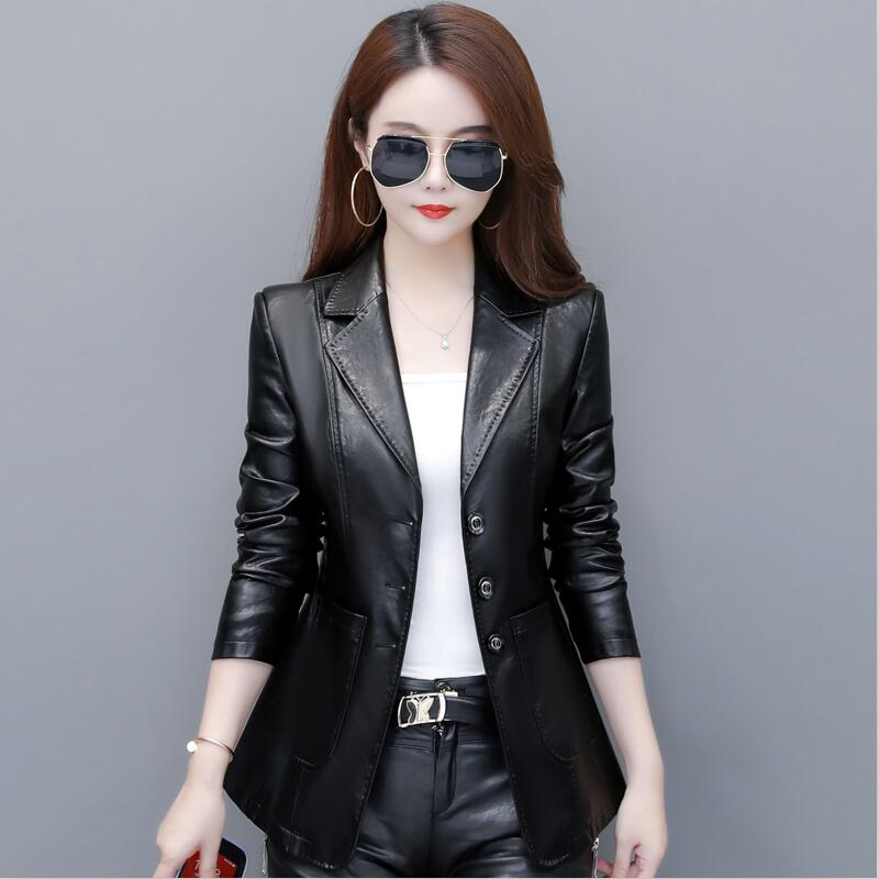 Plus Size Motorcycle Women's   Leather   Jacket 2019 New Black Female   Leather   Clothing Short Slim   Leather   Coat Women Outerwear Red