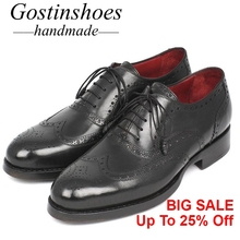 GOSTINSHOES HANDMADE Breathable Black Brown Cow Leather Men Brogues Shoes Lace-Up Casual Leather Shoes Men Goodyear Welted SCT20 цена в Москве и Питере